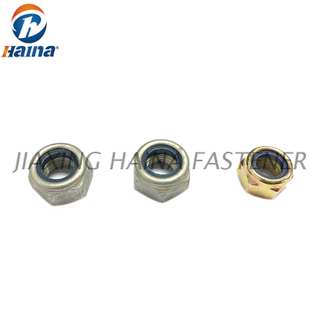 Gr 4 Zinc Plated Hexagon Nylon Insert Lock Nut DIN985